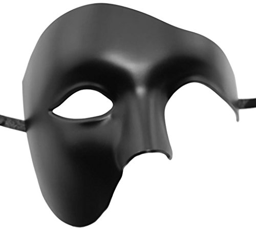 Coxeer Phantom of The Opera Mask Venetian Masquerade Mask Vintage Design(Black)