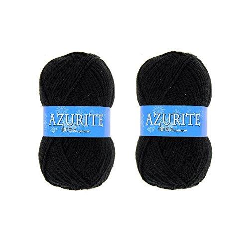 Lot 2 Pelote de Laine Azurite 100% Acrylique Tricot Crochet Tricoter - Noir - 585