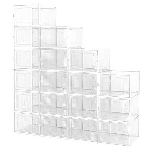 Crestlive Products 18 Pack Shoe Storage Box, Plastic Foldable Shoe Box, Stackable Clear Shoe Organizer (Medium/White)