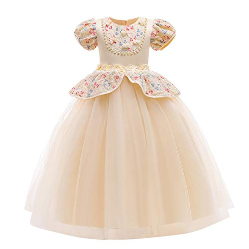 IMEKIS Disfraz de princesa Cenicienta para niñas con mangas abullonadas y bordado de encaje con tutú para boda, cumpleaños, fiesta formal, vestido de baile