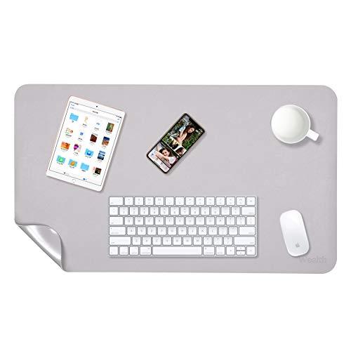 Preisvergleich Produktbild Weelth Multifunktionale doppelseitig Schreibtischunterlage,  900 * 430mm PU-Leder Tischunterlage ultradünn,  wasserdicht,  Mauspad für Büro / Zuhause (900 * 430mm,  Grau / Silber)