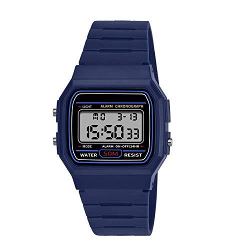 AYDQC Reloj Masculino de los nuevos Hombres electrónica y Femenino Estudiantes Tendencia de la Moda de los Adolescentes Personalizadas Luminosos Deportes Impermeable Reloj fengong (Color : Blue)