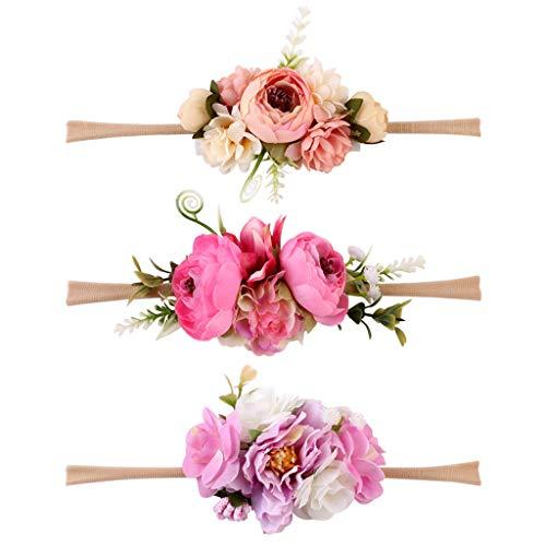 3pcs Blumenkranz Blumen Stirnband Blumenkrone Haarkranz Brautbrautjungfern Haarband für Mädchen Baby - M