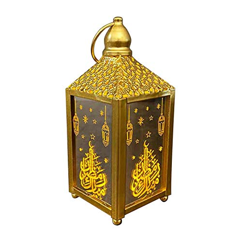 Eid de Madera Musulmán Ramadan Linterna con Pilas Portátil Colgante Lámpara de Tormenta de Oro Accesorios de Fiesta Led Vela Linterna Mesa Decoración para El Hogar Interior Estilo