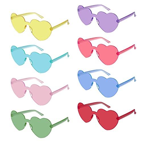 Weinsamkeit Corazón Gafas, Gafas de Sol Retro sin Montura 8, Gafas de Sol en Forma de Corazón ,gafas de Fiesta de Carnaval para Hombres Y Mujeres Son Las Mejores Decoraciones para Navidad