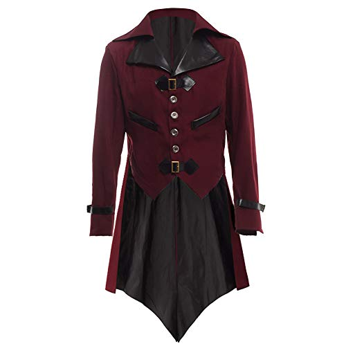 Include: 1pc Renaissance Victorian Tailcoat. Material: Polyester, PU Leather. Garment Care: Hand Wash in cold water separately. Buckles, Buttons, Single breasted, Vampire Tailcoat, Medieval Tailcoat Tuxedo Suit Gothic Blazer, Gothic Tuxedo. Men's Ste...