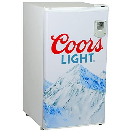 Coors Light Rocky Mountain Compact Fridge with Bottle Opener, 90 L/ 95 Quart 3.2 Cubic Foot for Snacks,Beverages, Juice, Beer, Den, Dorm, Office, Games Room, or RV