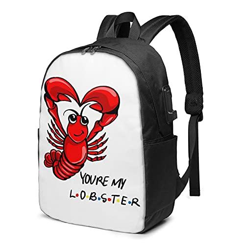AOOEDM You'Re My Lobster Usb Zaino 17 Pollice Impermeabile Borsa Da Viaggio Del Computer Portatile Per Adulti Ragazzi Ragazze Teen