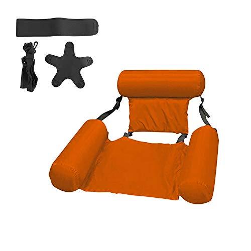 HUYA Piscina Deportes acuáticos Hamaca Inflable Tumbona Silla Aire Flotante Colchones Cama Fácil de Llevar Natación Piezas duraderas,Orange