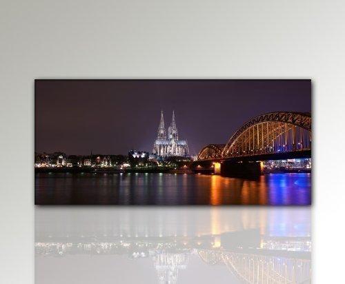 Photo murale Köln Skyline Pont de Cologne - 50 x 110 cm - Photo montée sur cadre en bois - Décoration murale avec cadre en bois - Décoration murale pour salon et chambre - Picture Style (ville Sydney Skyline Brücke Bavière de soleil - 100 % fabriqué en Allemagne - Qualité allemande.