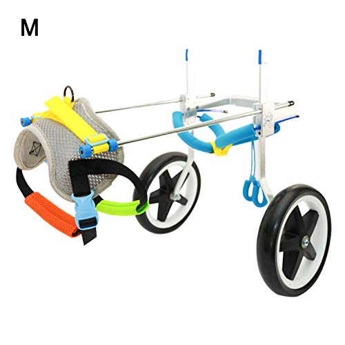 """Homend Adjustable Dog Wheelchair (M), Hip Height:16""""-20"""", Hind Legs Rehabilitation, Free Belly Band Protect Spine, Free Leash (M)"""