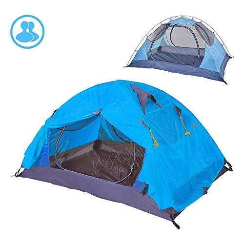 PN-Braes Family Tent Foldable Tent Outdoor 2 Persons Couple Lovers Camping Tent Double Layer PU 4000 Waterproof Sunshade Pop-Up Tents (Color : Blue, Size : 260 x 210 x 110cm)