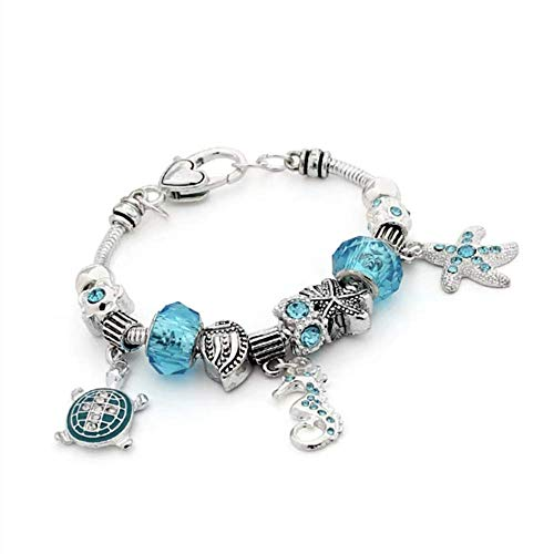 Aisszhao Girls Magical Sparkly Crystal Charm Bracelet Ocean Pendants with Silver Plated Snake Chain Greeting Card Gift Box for Teenage Girl Lady (ocean)