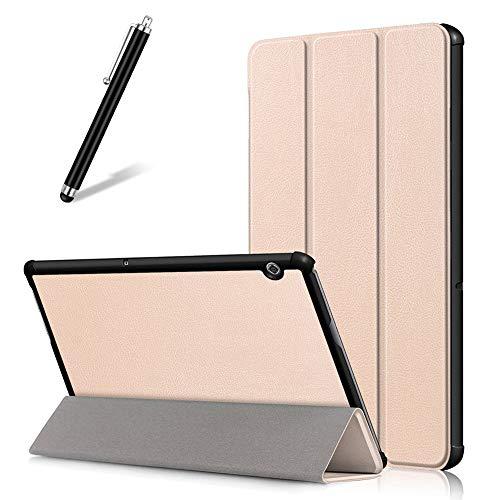Artfeel Coque pour Huawei MediaPad M5 Lite 10,Étui Cuir à Rabat Mince Léger avec Support Pliable,Réglable Multi-Angle Béquille Folio Flip Tablette Housse,d'or