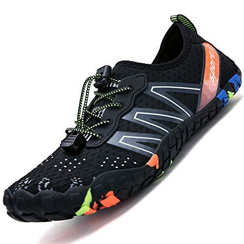 Rokiemen Zapatos de Agua Hombres Rápido Respirable Antideslizante Escarpines de Surf Natación Playa Zapatillas Deportes acuáticos 2-Negro 41 EU