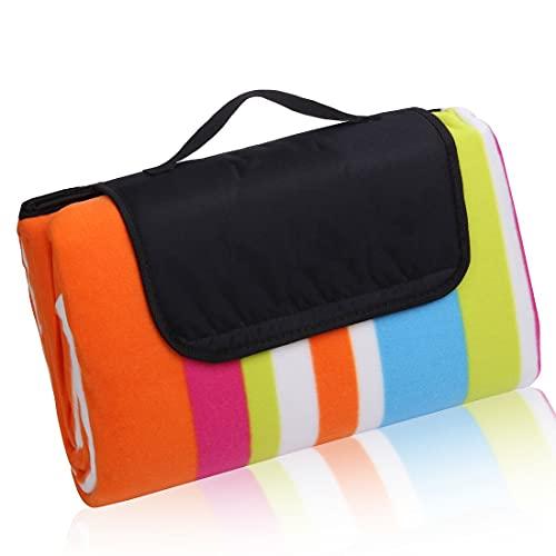 your GEAR Manta de picnic XL de rayas, 200 x 200 cm, manta de forro polar, impermeable y aislada