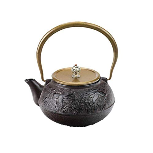 Teapot Cast Iron Teapot, Japanese Cast Iron Teapot, Durable Cast Iron with A Fully Enameled Interior, 1200ML (Color : Black, Size : 1200ml)
