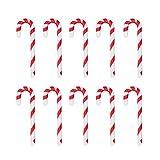 STOBOK 50 Piezas 6 5 Cm Bastón de Caramelo de Navidad Adorno Colgante Árbol de Navidad Colgante de Bastón de Caramelo de Plástico con Cinta Colorida Decoración Navideña