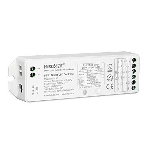 LGIDTECH LS2 Miboxer LED-Streifenlicht-Controller, 2,4-GHz-Wireless-5 in 1 Controller, kompatibel mit einfarbigen, RGB, RGBW, WW+CW, RGB+CCT LED-Lichtleisten