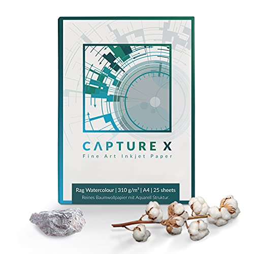 CAPTURE X Rag Watercolour - Papel de acuarela (310 g/m², A4, 25 hojas, 100% algodón)