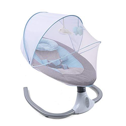 Columpio eléctrico para bebé, balancín inteligente con mosquitera, portátil, plegable, con regulación de cuatro velocidades, temporizador (azul)