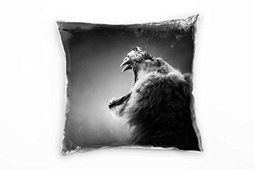 Paul Sinus Art Tiere, schwarz, weiß, brüllender Löwe von der Seite Deko Kissen 40x40cm für Couch Sofa Lounge Zierkissen - Dekoration zum Wohlfühlen