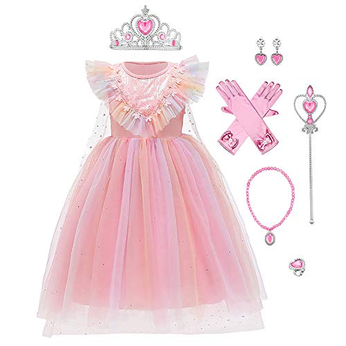 FYMNSI - Disfraz de princesa Elsa reina hielo, disfraz copo nieve, capa tul, con accesorios, para Navidad, Halloween, carnaval, cosplay, cumpleaos Rosa. 4-5 Aos