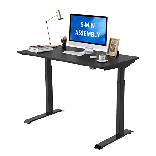 Flexispot Standing Desk Electric Height Adjustable Desk Quick Install Computer Desk 48 x 24 Inches Sit Stand Desk Whole-Piece Desk Board (Black Frame + 48' Black Top)