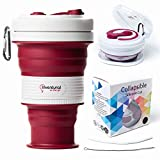 Collapsible Cup Portable with Accessories Set - Silicone Folding Mug Straw Brush and Ziplock Bag Included - Reusable Claret Violet Travel Cup - Retractable Lightweight Mug 18 OZ - Perfect Gift