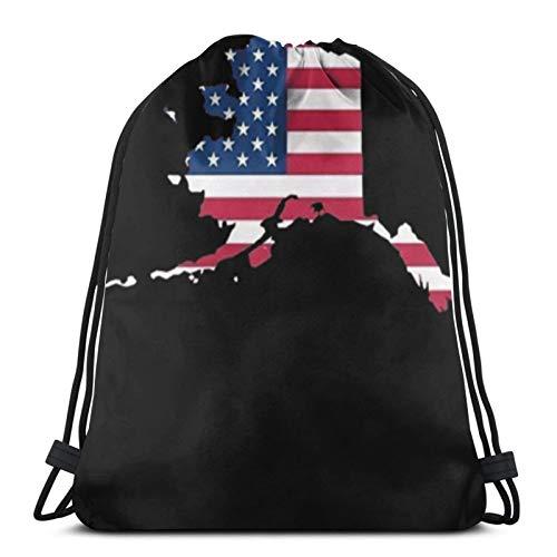 Tienda asequible mapa de la bandera de Alaska (Estados Unidos) mochila con cordón Bolsas de deporte Cinch Tote Bolsas para viajar y almacenamiento para hombres y mujeres 45 x 14 pulgadas