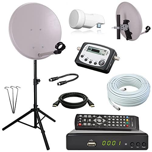 netshop 25 Digital Camping SAT Anlage 40 cm Spiegel + HD Receiver + Digitaler SAT Finder + HD Single LNB + 10m Kabel + Dreibein-Stativ