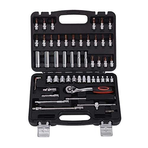 WSJ Repair Kit Schraubenschlüssel 53pcs 1/4'Sockel Ratsche Autoreparatur Werkzeugkoffer Präzisionshülse Universalgelenk Hardware Kit Autoreparatur Handschlüssel Werkzeugsatz Reparaturwerkzeuge