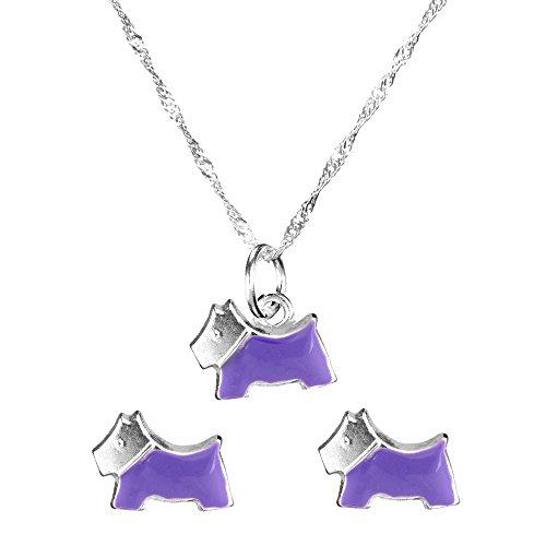 Córdoba Jewels  Conjunto de Gargantilla y Pendientes en Plata de Ley 925 y Esmalte. Diseño Chippy Amatista