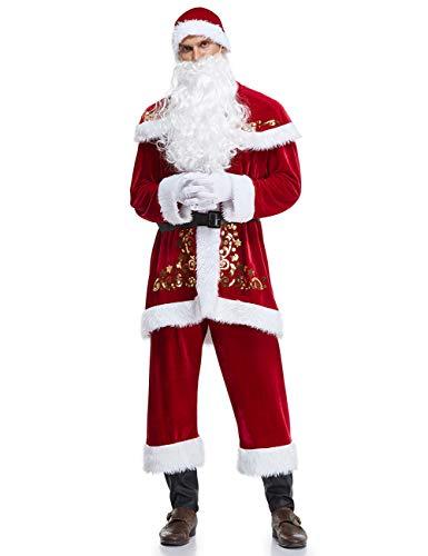 ShiyiUP Noël Costume de Père Noël de Déguisement pour Adulte - Rouge - XXXXL