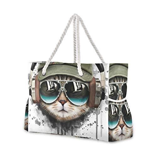 RELEESSS Grande Borsa Da Viaggio Spiaggia Divertente Musica Gatto Con Zip Impermeabile Tote Bag Borsa A Tracolla per Donne Signore Ragazze Uomini Unisex