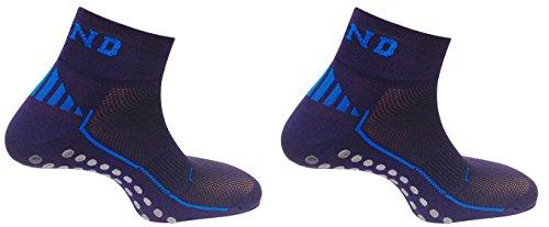 Pack Pilates: 2 calcetines Antideslizante Nonslip, Antibacterias y Terapéutico con puntos de silicona en la planta (Azul marino, L (42-45))