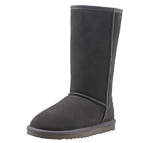Shenduo Zapatos Invierno clásicos - Botas de Nieve de Piel de Alta Pierna Impermeable Antideslizante para Mujer D5115 Gris 39