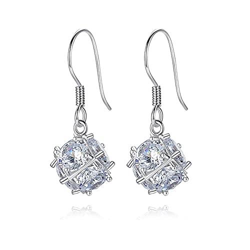 Pendientes de plata de ley 925 con forma de diamante para niñas Zirconia cúbica Pendientes colgantes de declaración para mujeres Accesorios Regalos Moda Alta joyería