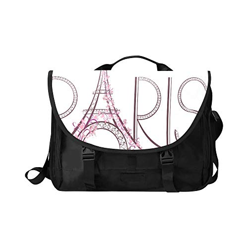 Ladies Laptop Briefcase Pink Eiffel Tower with Paris Lettering Multi-Functional Laptop Briefcase Women Fit for 15 Inch Computer Notebook MacBook