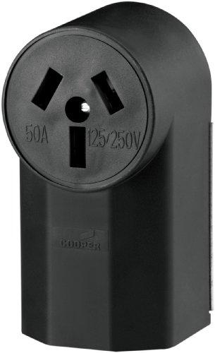 Eaton WD112 50-Amp 125-Volts 2-Pole 3-Wire Surface Mount Range Power Receptacle, Black