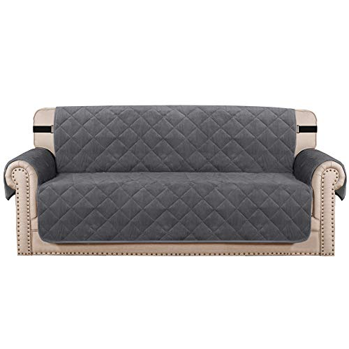 """H.VERSAILTEX Sofa Cover Quilted Thick Velvet Plush Couch Cover for 3 Cushion Sofa Slipcover Protector from Pets Dogs, Non-Slip Two Elastic Straps on Back and Base (Sofa 70"""", Grey)"""