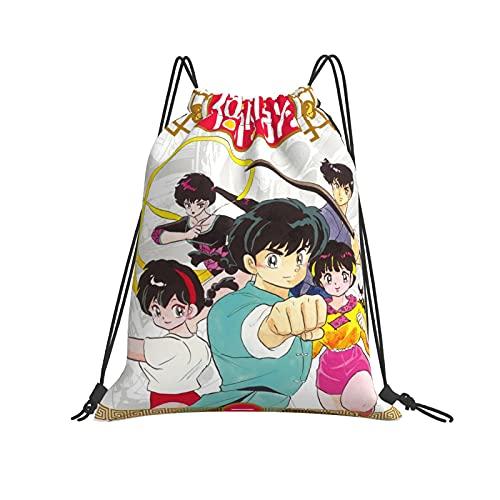 Ranma Personajes Mochila con cordón Mochila de cuerda Mochila a granel, bolsa de cincha, bolsas de deporte para la escuela, gimnasio de viaje
