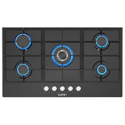 """36"""" Built-in Gas Cooktop KUPPET QB5903 Gas Stove with 5 Booster Burners Smooth Surface Black Tempered Glass(5 Italy Sabaf Sealed Burners), NG/LPG Convertible ETL Certified"""