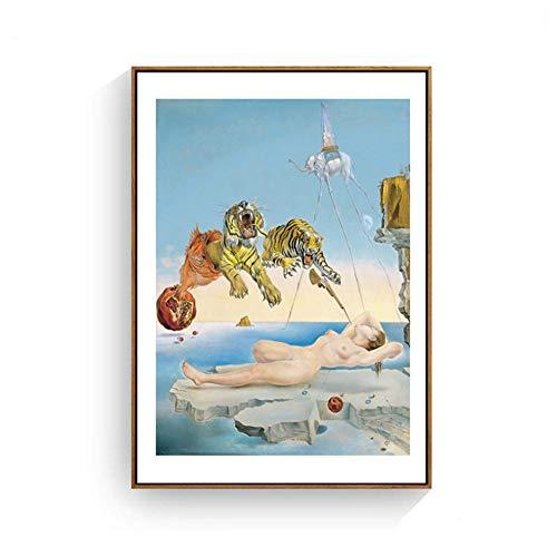 """YANGMENGDAN Imprimir en Lienzo Salvador Dali Tigre, Elefante, niña Lienzo Pintura Surrealismo Arte Abstracto Cuadros de Pared Imprimir para Sala de Estar Sin Marco 27.5 """"x 39.4"""