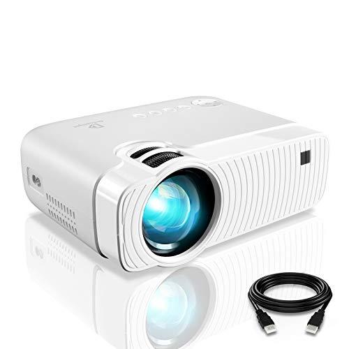 Mini Proyector ELEPHAS, Cine en casa portátil con 3800 lúmenes, Soporte Full HD 1080p de 50000 Horas, Compatible con HDMI VGA AV USB Micro SD, Blanco