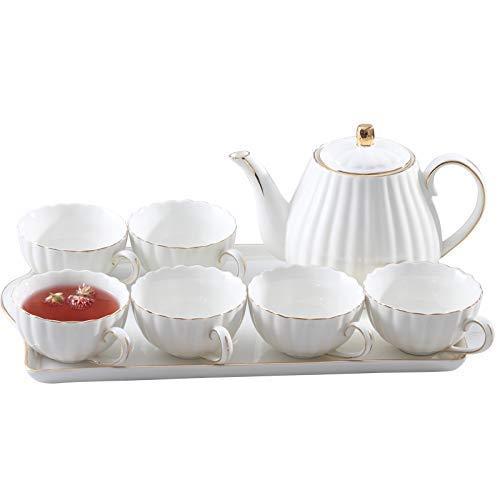 Novela Cerámica Hervidor de cerámica Tetera Cerámica Conjunto de té de la tarde inglesa con tazas Copas de cerámica Europa Pequeño pequeño hueso de lujo China Conjunto de tazas de café tazas de té roj
