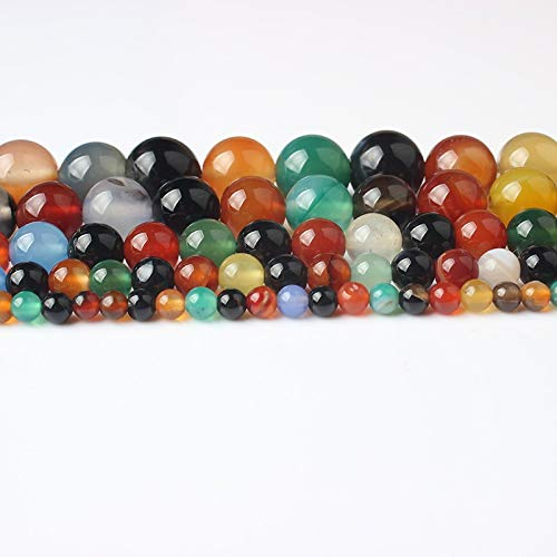 Gendaje Joyería Natural de Moda Multicolor Ágatas Perlas Sueltas 4 6 8 10 12 Mm DIY Hombres y Mujeres Pulsera Collar Accesorios Agate 12mm 32beads