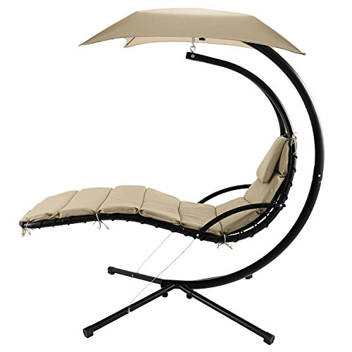 ANCHEER Hanging Chaise Lounger Arc Stand Air Porch Patio Swing Hammock Chair with Canopy, 350LBS...