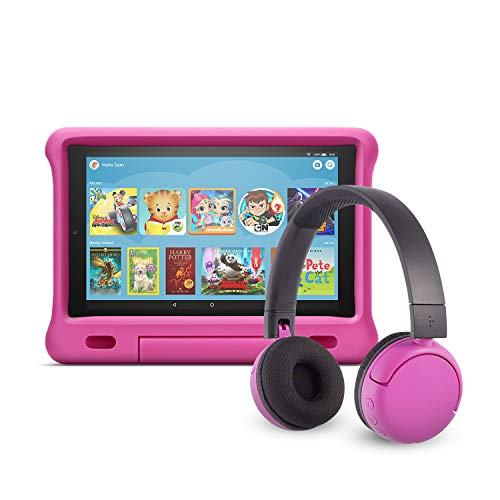 Fire HD 10 Kids Edition Tablet (32 GB, Pink Kid-Proof Case) + BuddyPhones Headset, Pop Time in Pink (Ages 8-15)