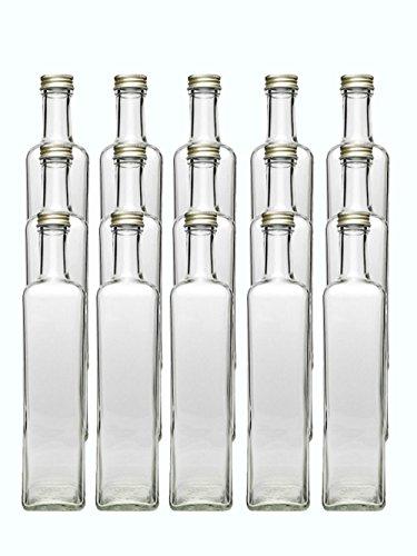 Glasflaschen Set | 24 teilig | Füllmenge 500 ml | Deckelfarbe Gold | 12 Maras 12 Ausgießer schwarz Saftflaschen Likörflaschen eigenes Öl oder Ihre eigenen Schnäpse und Liköre an